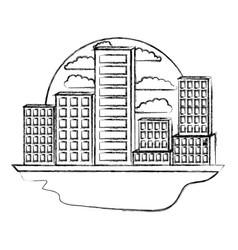 building set city landscape in circular shape vector image vector image