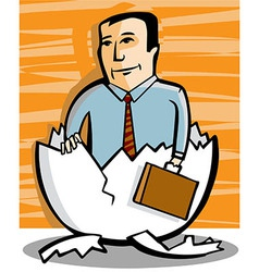 Businessman comes out of an egg vector image vector image