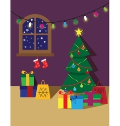 Christmas room poster or card vector