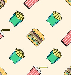 cola hamburger french fries colored outline vector image vector image