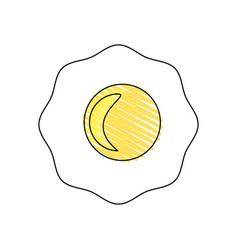 drawing fried egg breakfast food vector image
