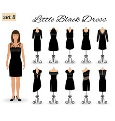 fashion model woman in little black dress set of vector image vector image
