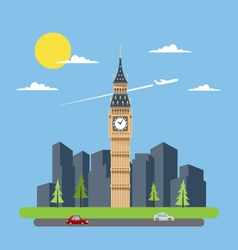 Flat design of big ben vector