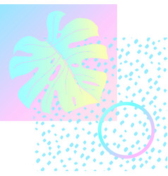 geometric poster monstera memphis in vaporwave vector image
