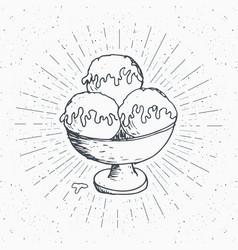 ice cream sketch vintage label hand drawn grunge vector image vector image