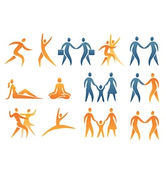 Icons symbols human figures vector