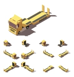 Isometric truck with lowboy semi-trailer vector