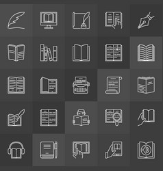 literature outline icons vector image vector image