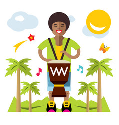 Man playing djembe african music flat vector