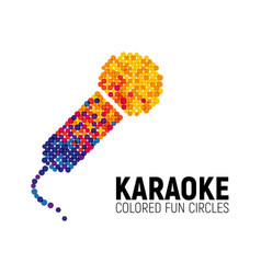 microphone logo made with color circles karaoke vector image