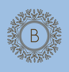 monogram b logo and text badge emblem line art vector image