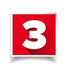 Number three label or number icon vector