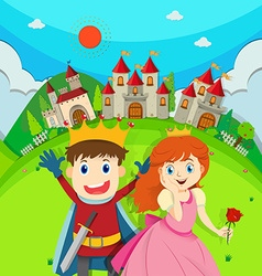 Prince and princess at the castle vector