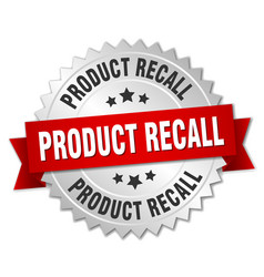 product recall round isolated silver badge vector image vector image