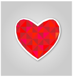 Red geometric heart vector image vector image
