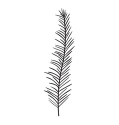 stem with thin leaves on monochrome silhouette vector image