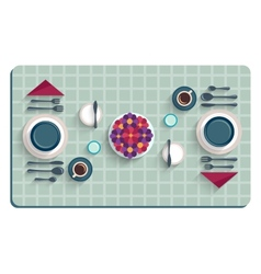 Table setting for breakfast Top view of desk vector image