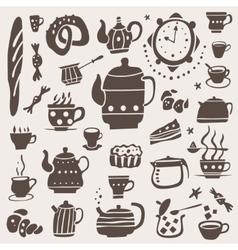 Tea cups doodles set vector image vector image