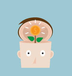Tree of money coins in human head vector