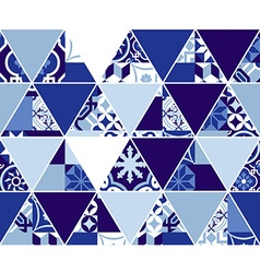 Triangle blue pattern with classic mosaic tile art vector image