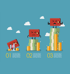 Wallet with money infographic vector