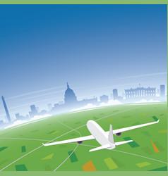 washington skyline flight destination vector image
