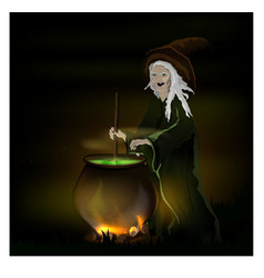 witch cooks a potion in a pot on halloween vector image vector image