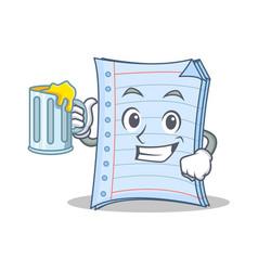 With juice notebook character cartoon design vector