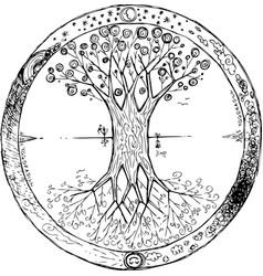 yggdrasil tree mandala vector image vector image