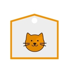 Cute cat cartoon on label icon vector