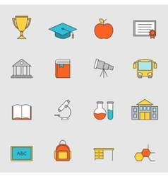 School education flat line icons vol 3 vector image