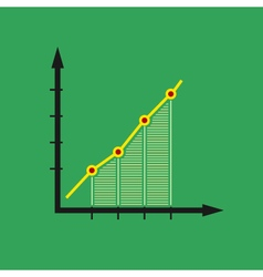 Chart isolated on green background vector