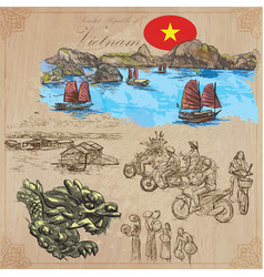 vietnam pictures of life colored pack hand vector image