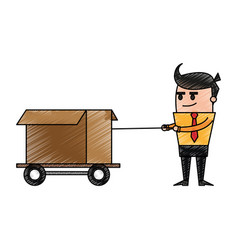 Color pencil cartoon business man pulling a box vector
