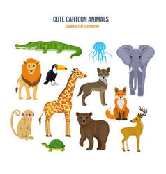 concept of - cute set cartoon animals vector image
