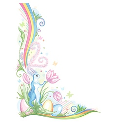 Easter vignette with sweet rabbit on the tulips vector