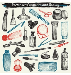 Cosmetics and beauty doodles vector