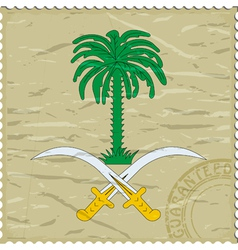 Coat of arms of saudi arabia on postage stamp vector