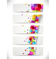 Colorful bright cubes fly - cards collection vector