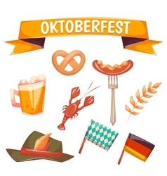 Set with oktoberfest celebration symbols vector