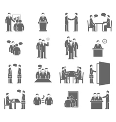 People talking flat black icons vector