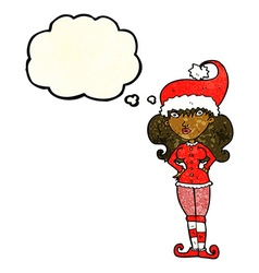 Cartoon santas helper woman with thought bubble vector