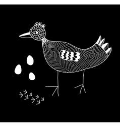 Monochrome of the cute bird vector