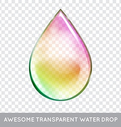 Rainbow water drop transparent isolated realistic vector