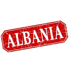 Albania red square grunge retro style sign vector