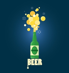 Beer gushing from bottle with text vector