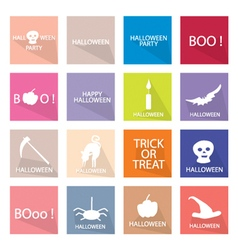 Collection of 16 Happy Halloween Icon vector image