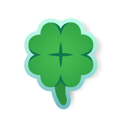 colorful green clover sticker vector image vector image