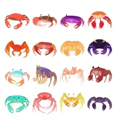 Crab icons set cartoon style vector image vector image