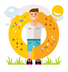 donut boy flat style colorful cartoon vector image